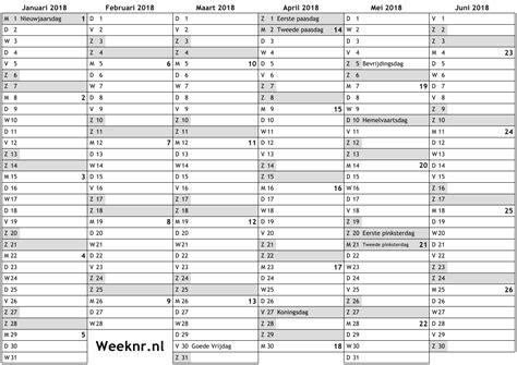 Calendar 2018 Uw Kalender Voor 2018 Met Weeknummers En Feestdagen