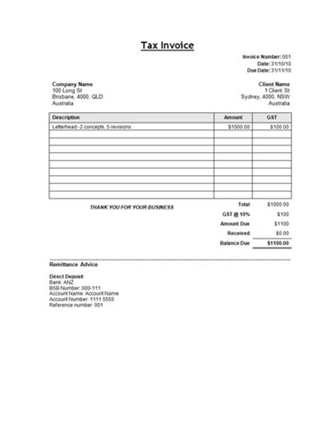 tax invoice template word doc free sle tax invoice template template