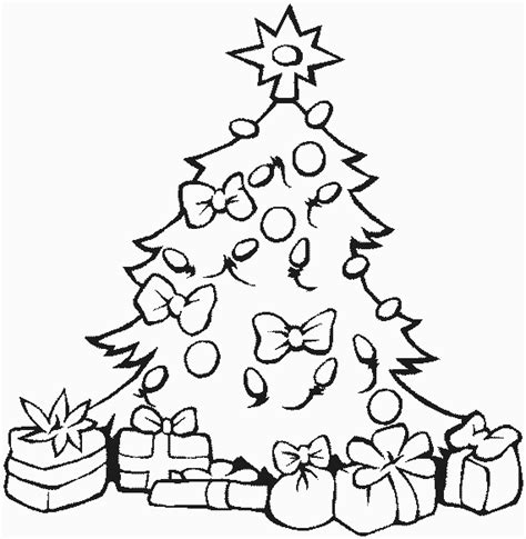 christmas tree and presents coloring page christmas tree coloring pages free printable pictures