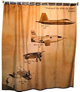 air shower curtain vintage aviation