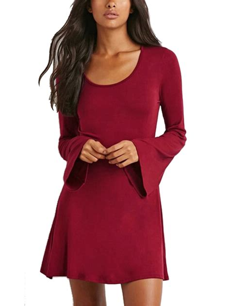 Sleeve A Line Mini Dress brief solid flare sleeve neck a line mini dress