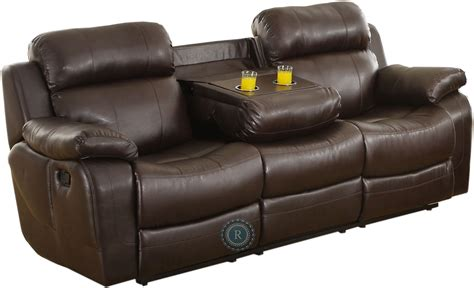 double recliner with cup holders marille dark brown double reclining sofa with center drop
