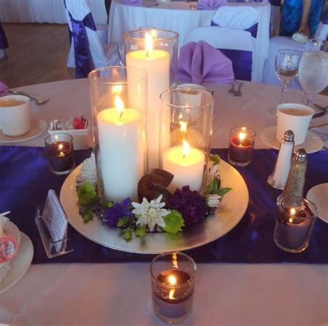 Our Simple Candle Centerpiece Wedding Centerpieces Mirror Centerpieces Ideas