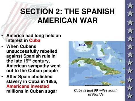 section 2 the spanish american war ppt america claims an empire powerpoint presentation