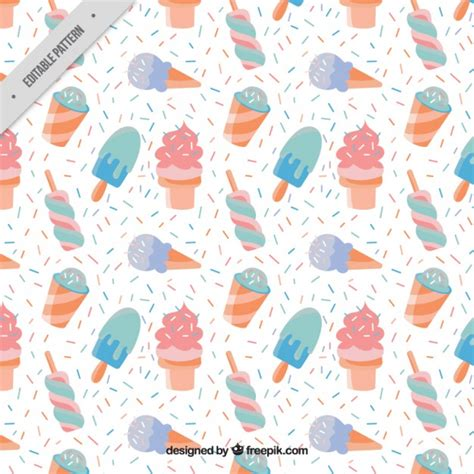 vector pattern pastel free hand drawn ice creams pattern in pastel colors vector