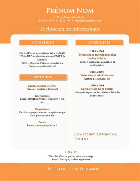 modele cv gratuit office document