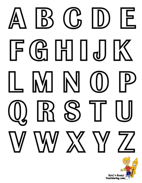 printable color fonts large letter fonts for coloring pages