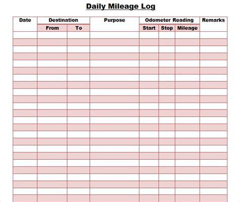44 Mileage Log Templates Free Word Excel Pdf Format Mileage Log Template For Self Employed