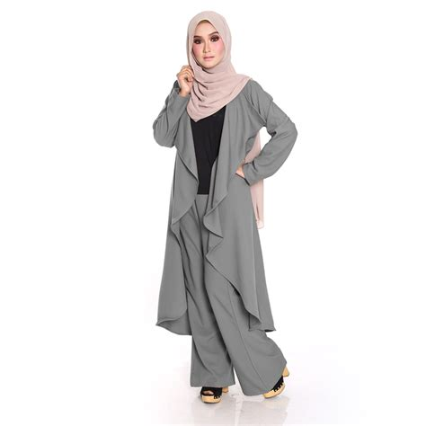 Blouse Wanita Panjang Blacknavy C29 kardigan waterfall set seluar malaysia best shopping fashion boutique with clothes