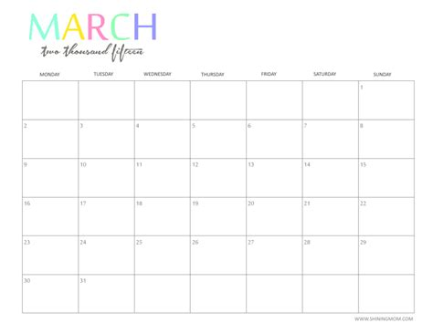 Calendar March 2015 Printable Free 2015 Printable Calendar By Shiningmom And