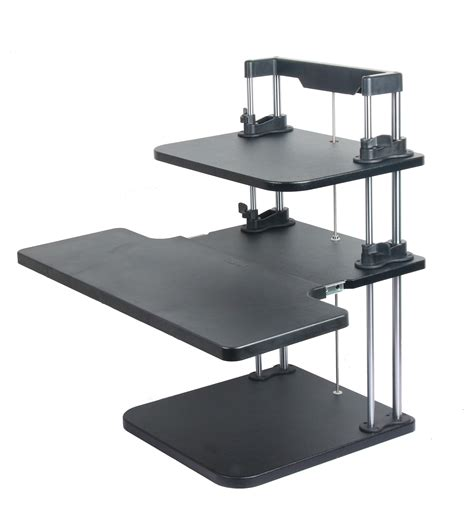 Height Width Adjustable Computer Laptop Standing Desk Stand Up Sit Desk