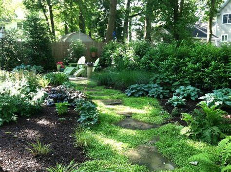 small shady backyard traditional landscape new york