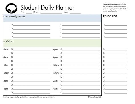 day planner printable student weekly planner