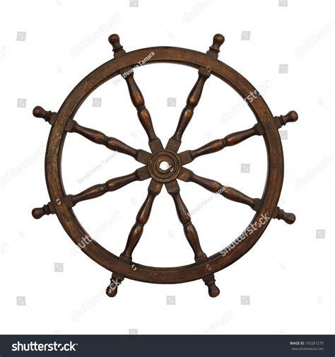 old boat steering wheel old boat steering wheel isolated on stock photo 193281275