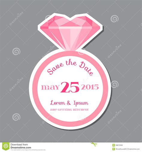 wedding invitation card with diamond ring stock vector