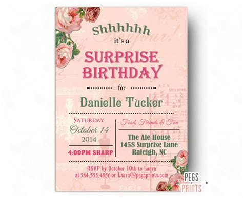 printable 60th birthday invitations templates shabby chic surprise party invitation printable surprise