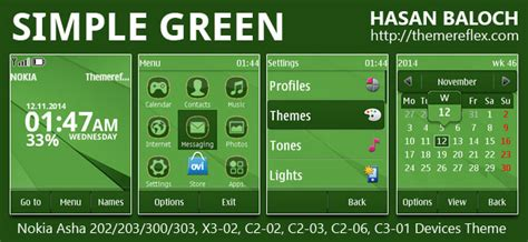 free themes for nokia c2 02 touch and type simple green theme for nokia asha 202 203 300 303 x3 02