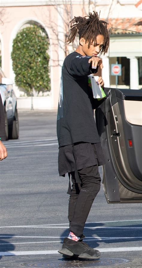 jaden smith wearing rick owens x adidas sneakers pause