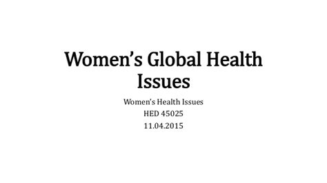 Womens Issues Healthcare Mba by S Global Health Issues