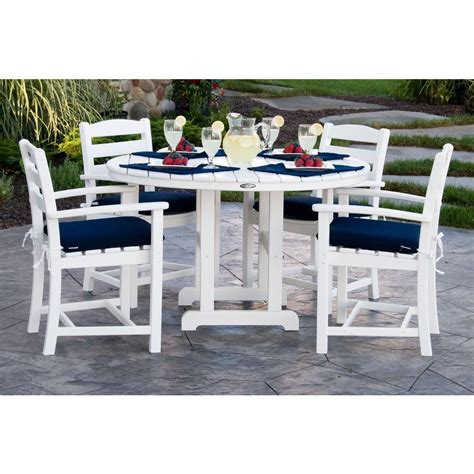 White Outdoor Patio Furniture Polywood La Casa Cafa White 5 Plastic Patio Dining Set With Sunbrella Navy Cushion Pws132