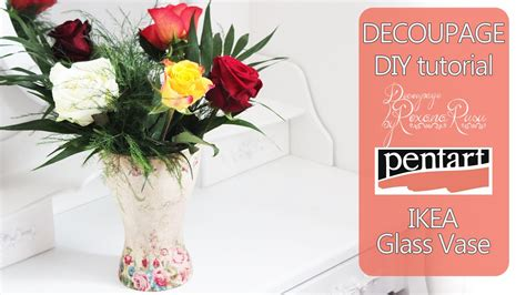 decoupage tutorial glass flower vase how to decoupage on glass decoupage tutorial diy glass