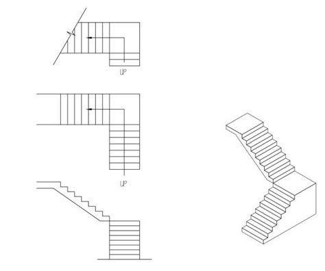 technische zeichnung treppe l stairs drafted and sketchupped drafting modeling and