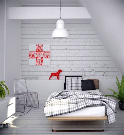Ordinaire Decoration Interieur Noir Blanc Gris #3: deco-chambre-grise-chambre-noir-et-blanc-la-chambre-gris-avec-détail-choc-couleur.jpg