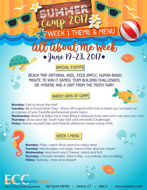 summer themes summer c menu theme easton community center
