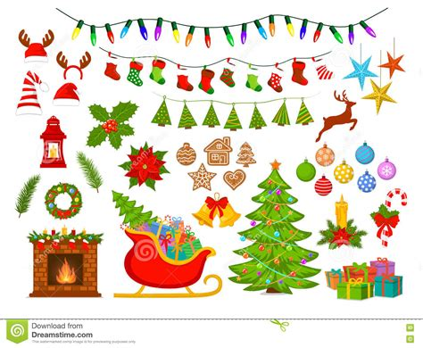 merry christmas class decoration merry and happy new year seasonal winter decoration items set stock vector