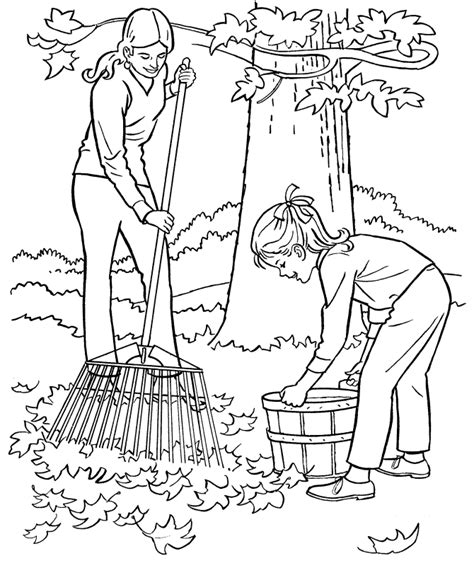 coloring pages of raking leaves farm work and chores coloring pages printable raking