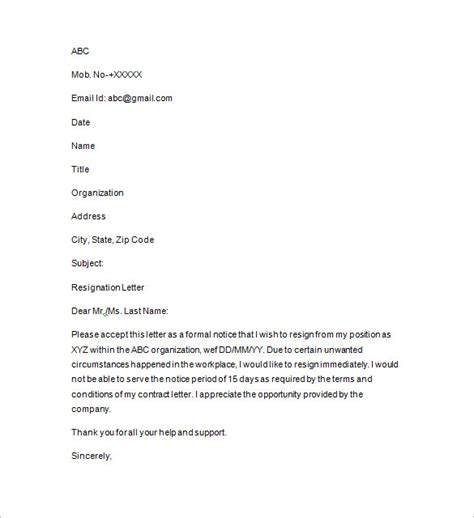 Resignation Letter Pdf In Sle Resignation Letter With Reason Pdf Docoments Ojazlink