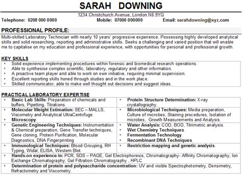science resume template science cv sle