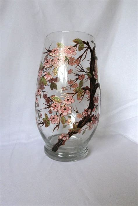 Painted Glass Vases Hand Painted Glass Vase Quot Cherry Blossoms Quot