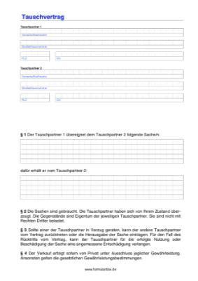 Kaufvertrag Auto Tausch by Tauschvertrag F 252 R Gegenst 228 Nde Und Sachen Vorlagen Und