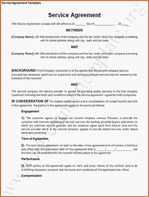 service provider agreement template free service agreement sle service level agreement jpg
