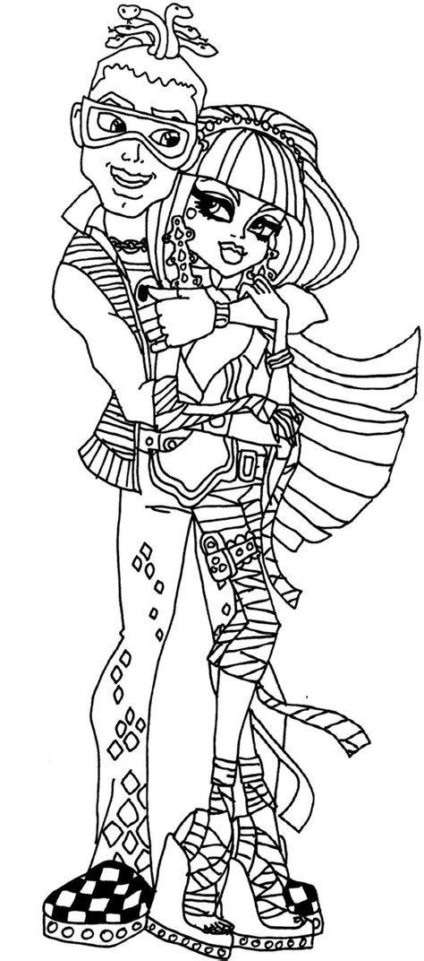 monster high coloring pages deuce deuce and cleo by elfkena on deviantart