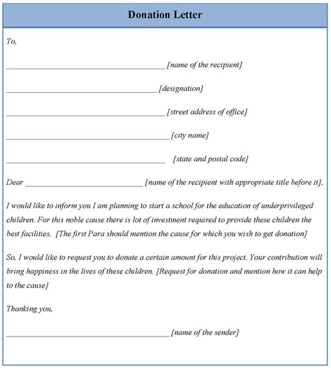 template letter for donations letter template for donation exle of donation letter