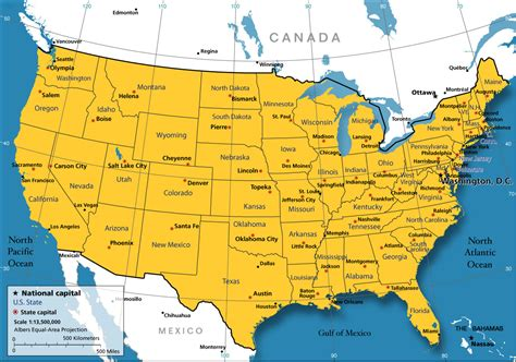 usa map of states with capitals map od united states map