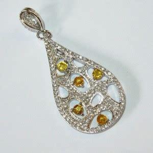 Cincin Yellow Sapphire Ah 52 liontin silver 925 safir songea kuning untuk wanita