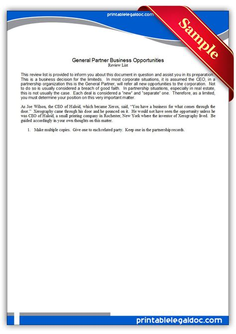 printable general partnership business opportunities