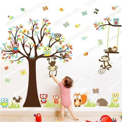 Stickers Deco Chambre Enfant by Sticker Mural Animal Hibou Singe Arbre D 233 Co Decal
