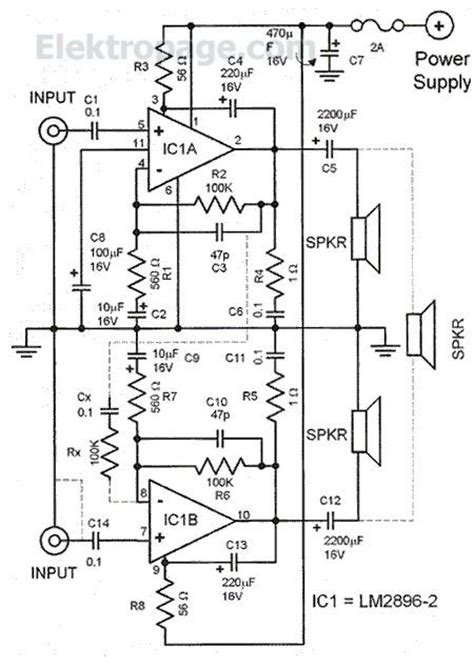 lm2896 car stereo booster schematic circuits elektropage