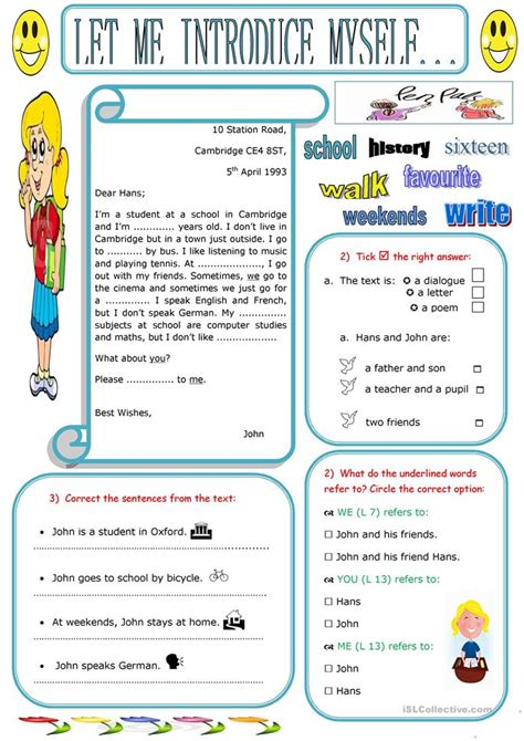 Esl Introducing Yourself Worksheet by 35 Free Esl Myself Worksheets