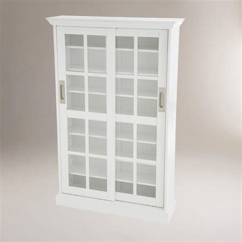 sliding door dvd storage cabinet white sliding door storage cabinet world market