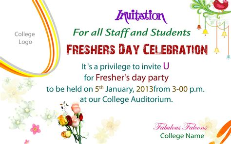 Invitation Cards For Freshers Of College