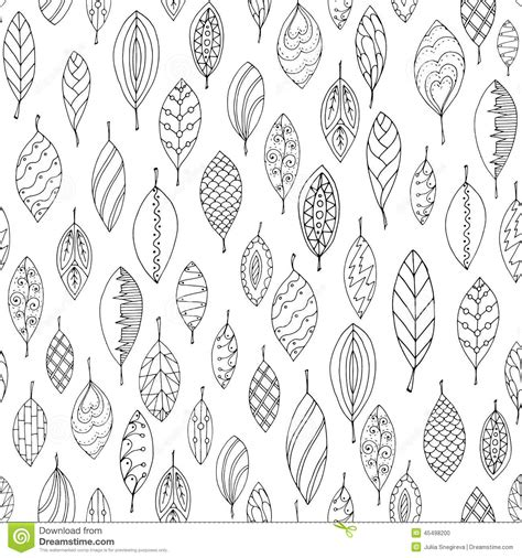autumn white and black seamless stylized leaf stock vector