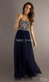Cheap prom dresses discount embroidery dark navy blue long cheap