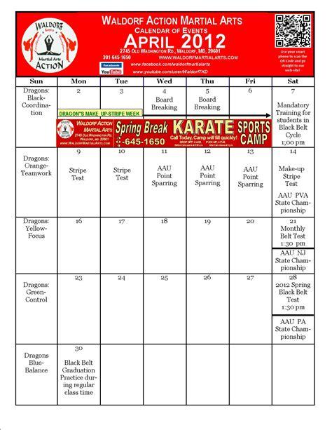 April 2012 Calendar Wama April 2012 Calendar Of Events Waldorf Martial Arts