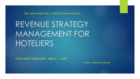 Mba In Revenue Management by Study Revenue Strategy Management For Hoteliers