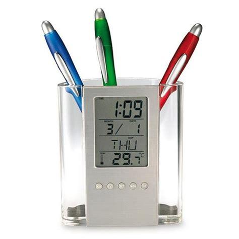 Transparent Penholder With Clock Jk 217d transparent penholder with clock jk 217d silver